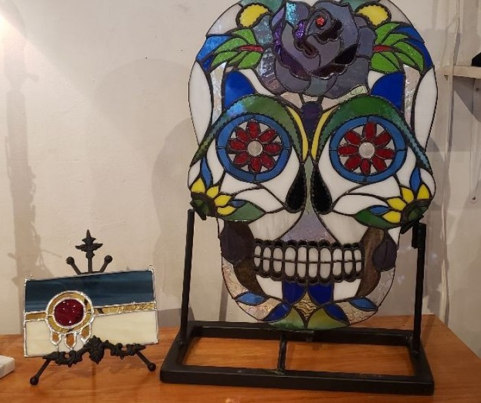 Stained Glass Custom Designed Sugar Skull available for purchase