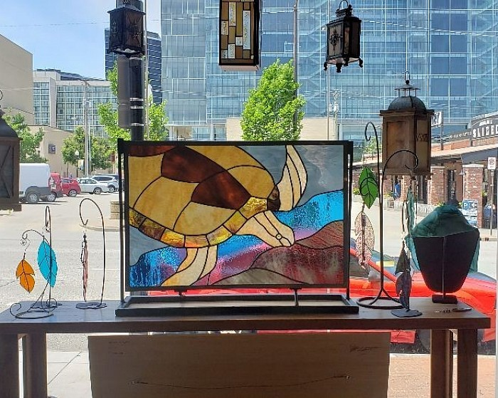 Grandmother Turtle can be viewed at The Tulsa Artery,  downtown Tulsa