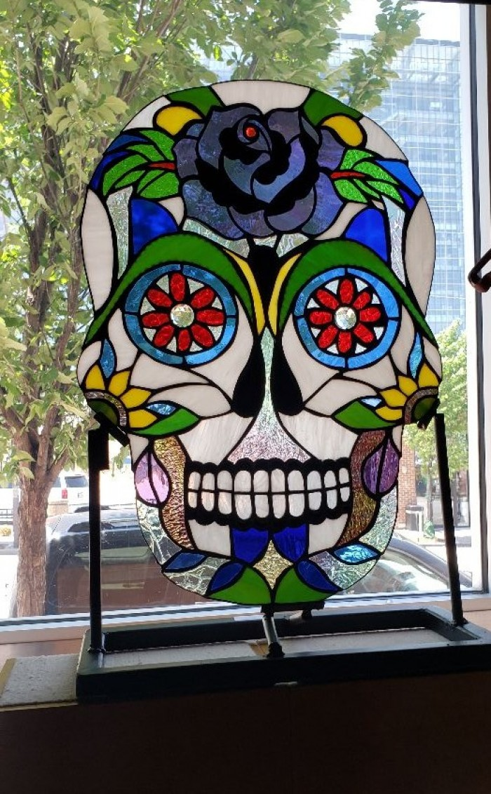 Stained Glass Sugar Skull custom built with stand