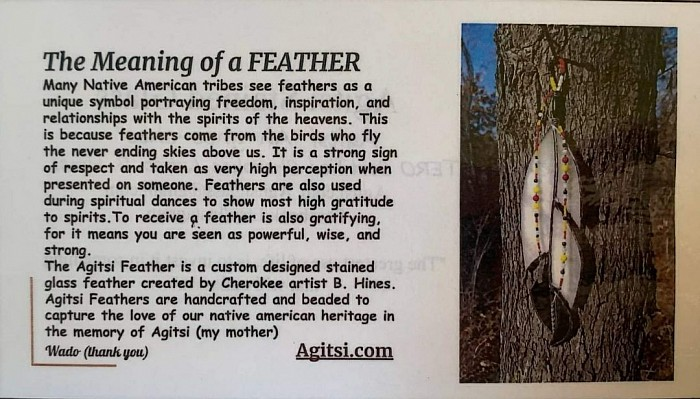 Meaning of a Feather.... comes with each Large  Feather